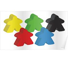 Set of 5 meeples (Board game tokens) Poster