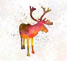 Reindeer 02 in watercolor by paulrommer