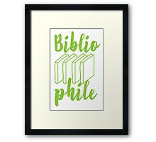 BIBLIOPHILE with books Framed Print