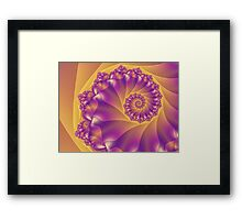 Yellow And Purple Spiral Fractal Framed Print