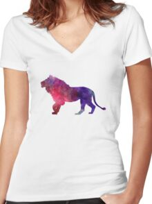 Lion 01 in watercolor Women's Fitted V-Neck T-Shirt
