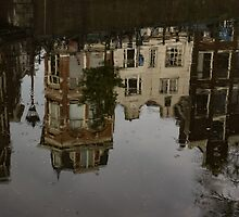 Amsterdam - Moody Canal Reflections in the Rain by Georgia Mizuleva