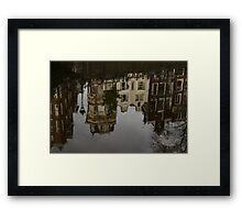 Amsterdam - Moody Canal Reflections in the Rain Framed Print