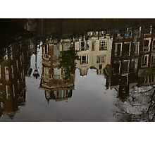 Amsterdam - Moody Canal Reflections in the Rain Photographic Print