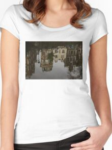 Amsterdam - Moody Canal Reflections in the Rain Women's Fitted Scoop T-Shirt