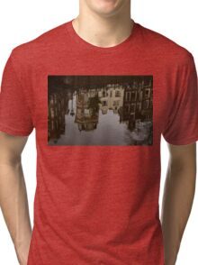 Amsterdam - Moody Canal Reflections in the Rain Tri-blend T-Shirt