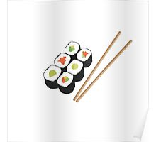 Sushi rolls with chopsticks Poster