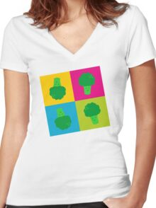 Popart Broccoli Women's Fitted V-Neck T-Shirt