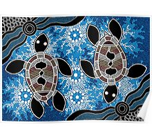 Aboriginal Art Authentic - Sea Turtles Poster