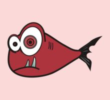 Red big eyed cartoon fish One Piece - Short Sleeve
