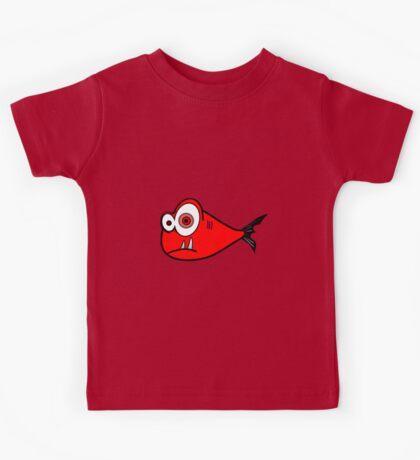 Red big eyed cartoon fish Kids Tee