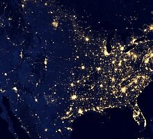 City lights of the United States at night. by StocktrekImages