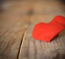 Red heart with board valentines concept of love by juras