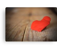 Red heart with board valentines concept of love Canvas Print