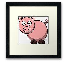 Pink Cartoon Piggie Framed Print