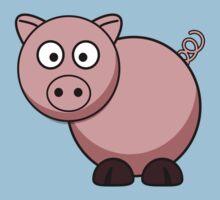 Pink Cartoon Piggie One Piece - Short Sleeve