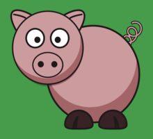 Pink Cartoon Piggie Baby Tee