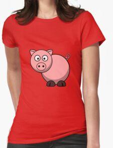 Pink Cartoon Piggie Womens Fitted T-Shirt