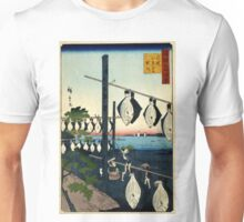 Conquered Wakasa Dried Flatfish - Hiroshige Utagawa - 1859 - woodcut Unisex T-Shirt