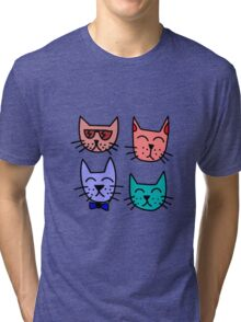 Cool Cartoon Cats Tri-blend T-Shirt