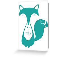 Monsieur Fox- Teal Greeting Card