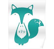 Monsieur Fox- Teal Poster