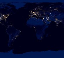 Flat map of Earth showing city lights of the world at night.      by StocktrekImages