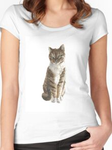 Brown cat watercolor art print painting Women's Fitted Scoop T-Shirt