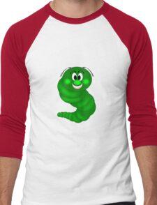 Green Cartoon caterpillar  Men's Baseball ¾ T-Shirt