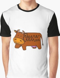 Cartoon Brown Cow Graphic T-Shirt