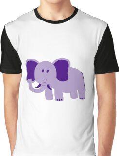 Purple Cartoon elephant Graphic T-Shirt