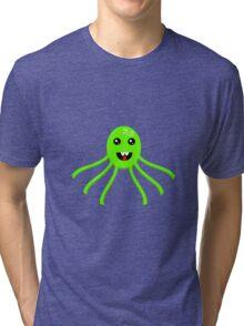 Green Cartoon Octopus  Tri-blend T-Shirt
