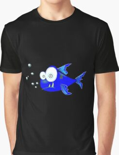 Cartoon Big eyed blue fish Graphic T-Shirt