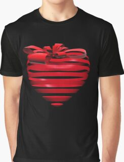 3D Ribbon Heart Graphic T-Shirt