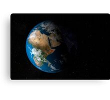 Full Earth showing simulated clouds over Africa. Canvas Print