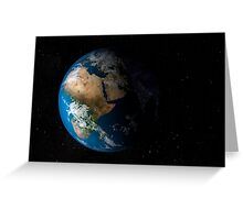 Full Earth showing simulated clouds over Africa. Greeting Card