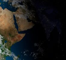 Full Earth showing simulated clouds over Africa. Sticker