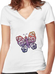 Cartoon Pretty Butterfly Women's Fitted V-Neck T-Shirt
