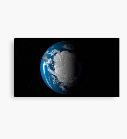 Ful Earth showing simulated clouds over Antarctica. Canvas Print