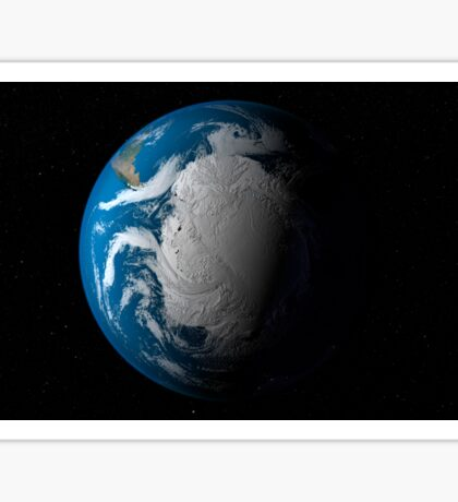 Full Earth showing simulated clouds over Antarctica. Sticker