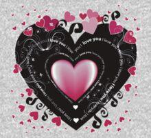 I_Love_You Hearts One Piece - Short Sleeve