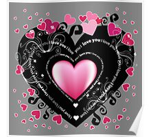 I_Love_You Hearts Poster