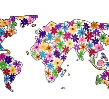 Map of the World Continents Flower Design by alexavec