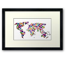 Map of the World Continents Flower Design Framed Print