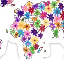 Map of the World Continents Flower Design Sticker