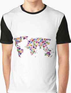 Map of the World Continents Flower Design Graphic T-Shirt