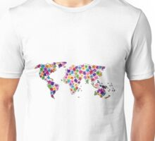 Map of the World Continents Flower Design Unisex T-Shirt