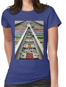 Rainbow Train Track  Womens Fitted T-Shirt
