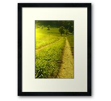 Green scenery mountains landscape with forest and road Framed Print