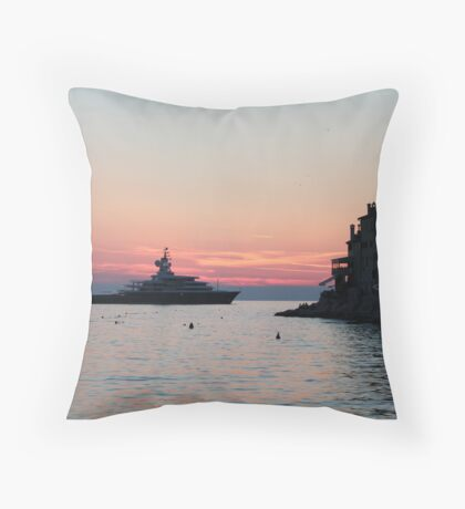 Boat meets town Throw Pillow